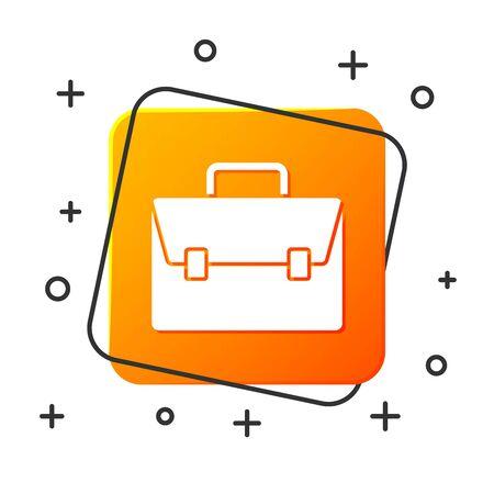 White Briefcase icon isolated on white background. Business case sign. Business portfolio. Orange square button. Vector Illustration