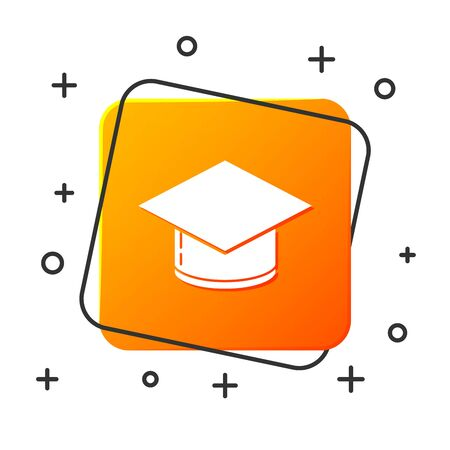 White Graduation cap icon isolated on white background. Graduation hat with tassel icon. Orange square button. Vector Illustration