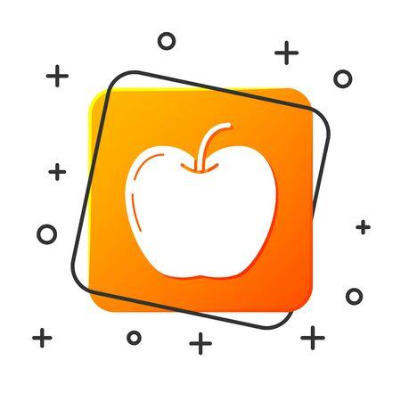 White Apple icon isolated on white background. Fruit with leaf symbol. Orange square button. Vector Illustration