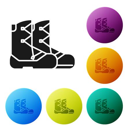 Black Boots icon isolated on white background. Set icons colorful circle buttons. Vector Illustration