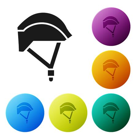 Black Bicycle helmet icon isolated on white background. Extreme sport. Sport equipment. Set icons colorful circle buttons. Vector Illustration Çizim