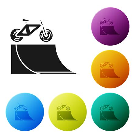 Black Bicycle on street ramp icon isolated on white background. Skate park. Extreme sport. Sport equipment. Set icons colorful circle buttons. Vector Illustration