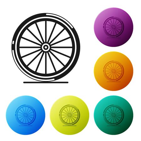 Black Bicycle wheel icon isolated on white background. Bike race. Extreme sport. Sport equipment. Set icons colorful circle buttons. Vector Illustration