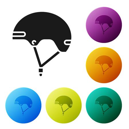 Black Helmet icon isolated on white background. Extreme sport. Sport equipment. Set icons colorful circle buttons. Vector Illustration