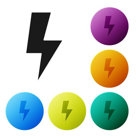 Black Lightning bolt icon isolated on white background. Flash sign. Charge flash icon. Thunder bolt. Lighting strike. Set icons colorful circle buttons. Vector Illustration Stock fotó - 132055929