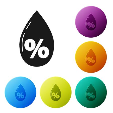 Black Water drop percentage icon isolated on white background. Humidity analysis. Set icons colorful circle buttons. Vector Illustration