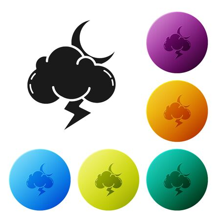 Black Storm icon isolated on white background. Cloud with lightning and moon sign. Weather icon of storm. Set icons colorful circle buttons. Vector Illustration