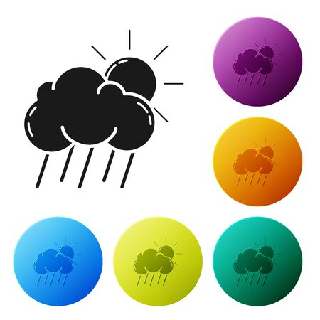 Black Cloud with rain and sun icon isolated on white background. Rain cloud precipitation with rain drops. Set icons colorful circle buttons. Vector Illustration