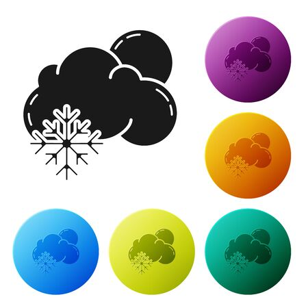 Black Cloud with snow and sun icon isolated on white background. Cloud with snowflakes. Single weather icon. Snowing sign. Set icons colorful circle buttons. Vector Illustration Illustration