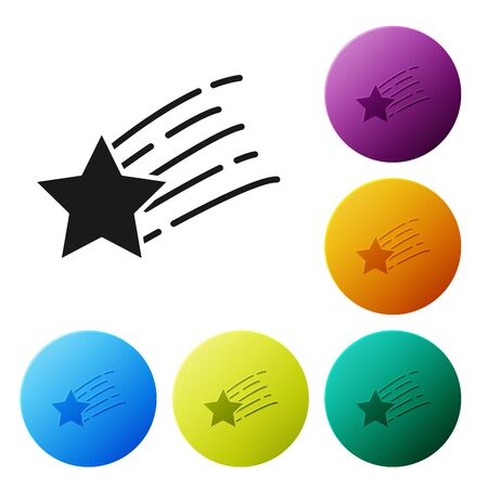 Black Falling star icon isolated on white background. Shooting star with star trail. Meteoroid, meteorite, comet, asteroid, star icon. Set icons colorful circle buttons. Vector Illustration