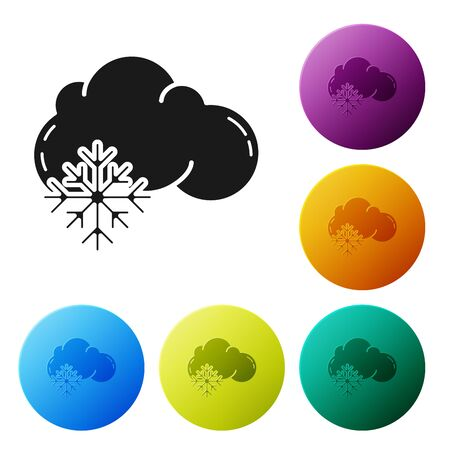 Black Cloud with snow icon isolated on white background. Cloud with snowflakes. Single weather icon. Snowing sign. Set icons colorful circle buttons. Vector Illustration