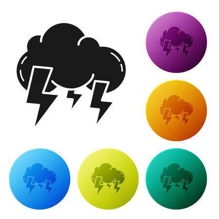 Black Storm icon isolated on white background. Cloud and lightning sign. Weather icon of storm. Set icons colorful circle buttons. Vector Illustration Illustration