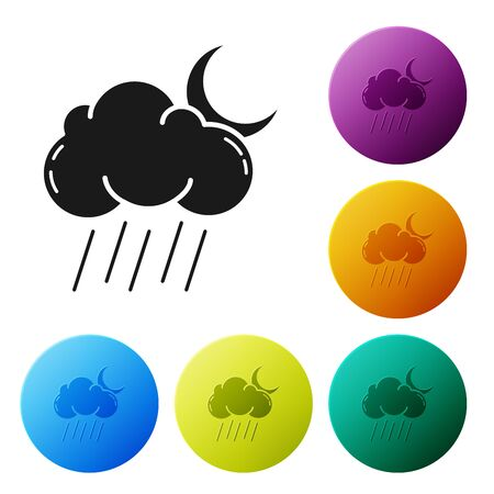 Black Cloud with rain and moon icon isolated on white background. Rain cloud precipitation with rain drops. Set icons colorful circle buttons. Vector Illustration