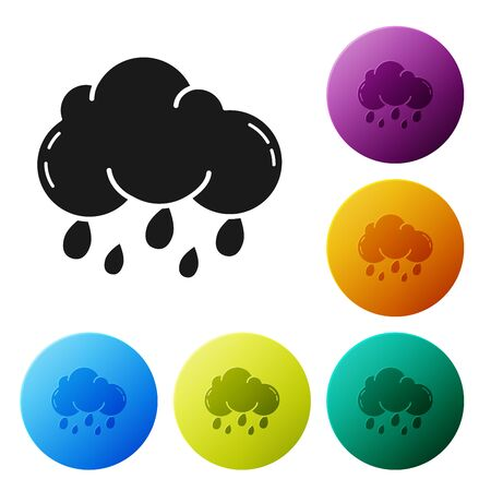 Black Cloud with rain icon isolated on white background. Rain cloud precipitation with rain drops. Set icons colorful circle buttons. Vector Illustration