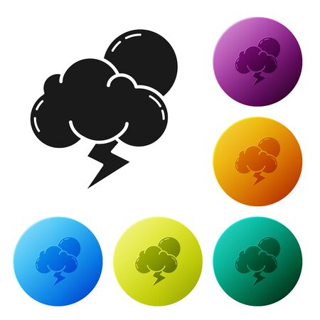 Black Storm icon isolated on white background. Cloud with lightning and sun sign. Weather icon of storm. Set icons colorful circle buttons. Vector Illustration