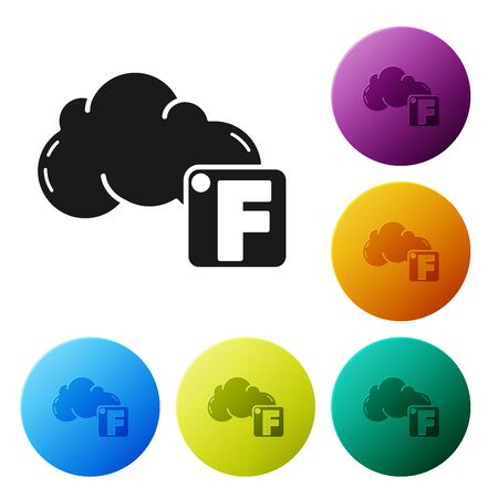 Black Fahrenheit and cloud icon isolated on white background. Set icons colorful circle buttons. Vector Illustration