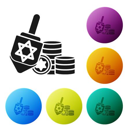 Black Hanukkah dreidel and coin icon isolated on white background. Set icons colorful circle buttons. Vector Illustration
