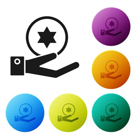 Black Jewish coin on hand icon isolated on white background. Currency symbol. Set icons colorful circle buttons. Vector Illustration