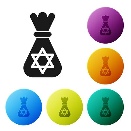 Black Jewish money bag with star of david icon isolated on white background. Currency symbol. Set icons colorful circle buttons. Vector Illustration Illusztráció