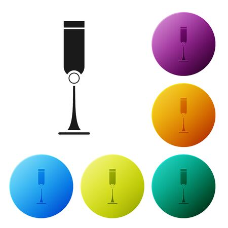 Black Jewish goblet icon isolated on white background. Jewish wine cup for kiddush. Kiddush cup for Shabbat. Set icons colorful circle buttons. Vector Illustration