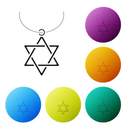 Black Star of David necklace on chain icon isolated on white background. Jewish religion symbol. Symbol of Israel. Jewellery and accessory. Set icons colorful circle buttons. Vector Illustration Çizim