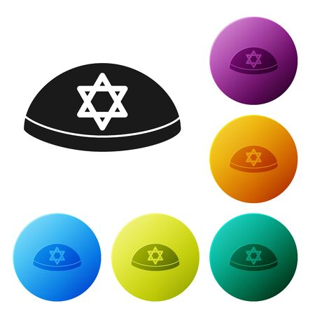 Black Jewish kippah with star of david icon isolated on white background. Jewish yarmulke hat. Set icons colorful circle buttons. Vector Illustration