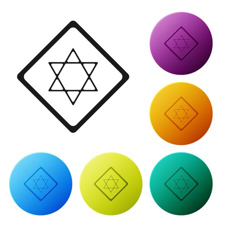 Black Star of David icon isolated on white background. Jewish religion symbol. Symbol of Israel. Set icons colorful circle buttons. Vector Illustration