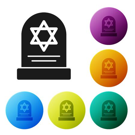 Black Tombstone with star of david icon isolated on white background. Jewish grave stone. Gravestone icon. Set icons colorful circle buttons. Vector Illustration