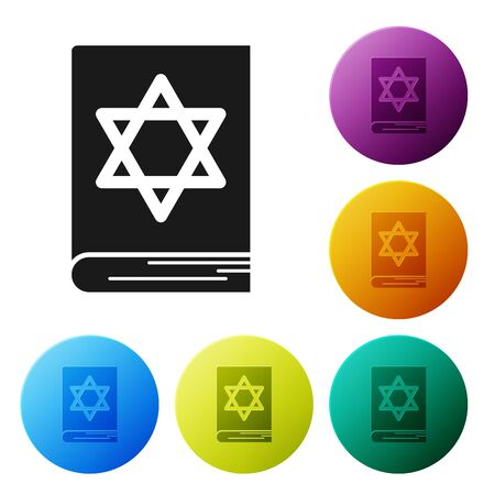 Black Jewish torah book icon isolated on white background. Pentateuch of Moses. On the cover of the Bible is the image of the Star of David. Set icons colorful circle buttons. Vector Illustration Çizim