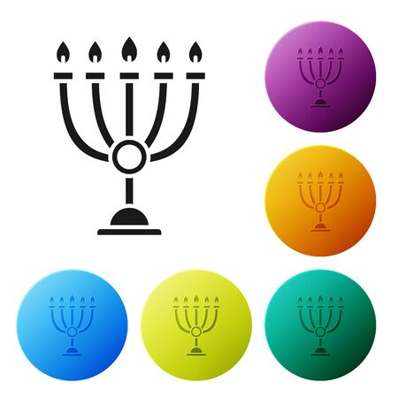 Black Hanukkah menorah icon isolated on white background. Hanukkah traditional symbol. Holiday religion, jewish festival of Lights. Set icons colorful circle buttons. Vector Illustration