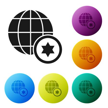 Black World Globe and Israel icon isolated on white background. Set icons colorful circle buttons. Vector Illustration Çizim