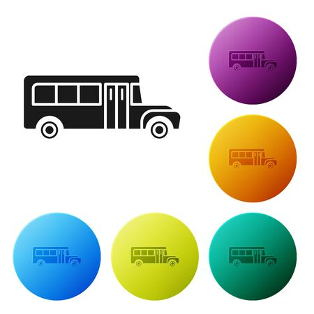 Black School Bus icon isolated on white background. Public transportation symbol. Set icons colorful circle buttons. Vector Illustration