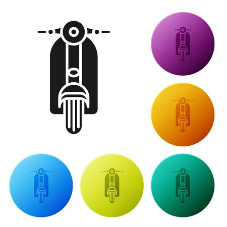 Black Scooter icon isolated on white background. Set icons colorful circle buttons. Vector Illustration
