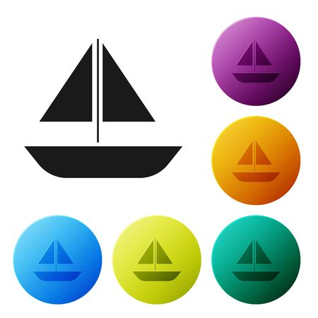 Black Yacht sailboat or sailing ship icon isolated on white background. Sail boat marine cruise travel. Set icons colorful circle buttons. Vector Illustration