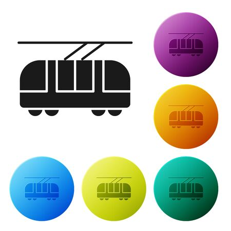 Black Tram and railway icon isolated on white background. Public transportation symbol. Set icons colorful circle buttons. Vector Illustration
