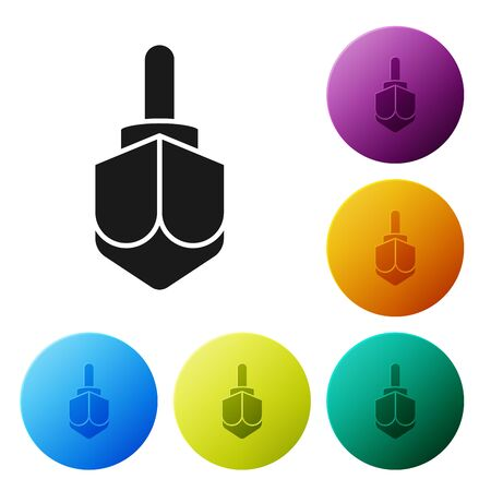 Black Hanukkah dreidel icon isolated on white background. Set icons colorful circle buttons. Vector Illustration Çizim