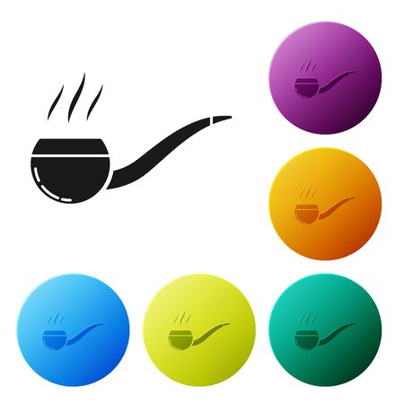 Black Smoking pipe with smoke icon isolated on white background. Tobacco pipe. Set icons colorful circle buttons. Vector Illustration Banque d'images - 132055995