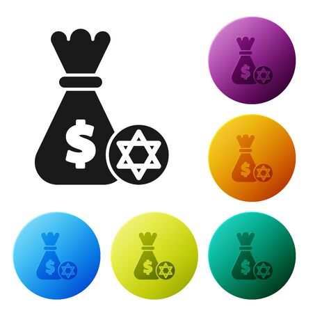 Black Jewish money bag with star of david and coin icon isolated on white background. Currency symbol. Set icons colorful circle buttons. Vector Illustration