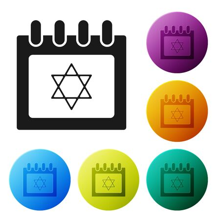 Black Jewish calendar with star of david icon isolated on white background. Hanukkah calendar day. Set icons colorful circle buttons. Vector Illustration