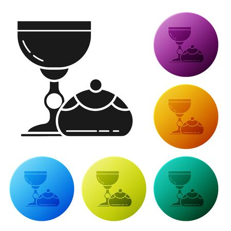 Black Jewish goblet and hanukkah sufganiyot icon isolated on white background. Jewish sweet bakery. Wine cup for kiddush. Set icons colorful circle buttons. Vector Illustration