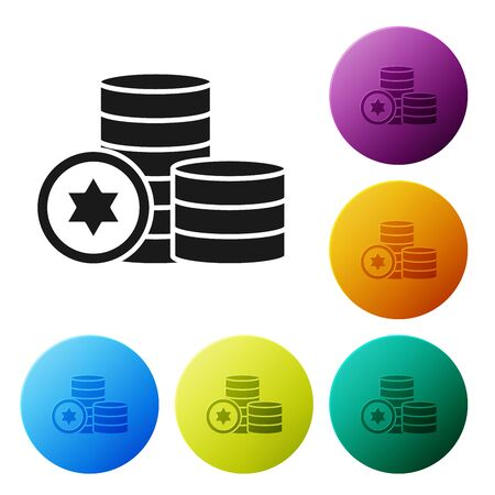 Black Jewish coin icon isolated on white background. Currency symbol. Set icons colorful circle buttons. Vector Illustration