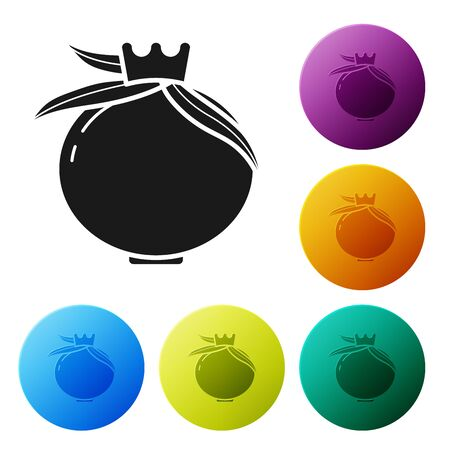 Black Pomegranate icon isolated on white background. Garnet fruit. Set icons colorful circle buttons. Vector Illustration