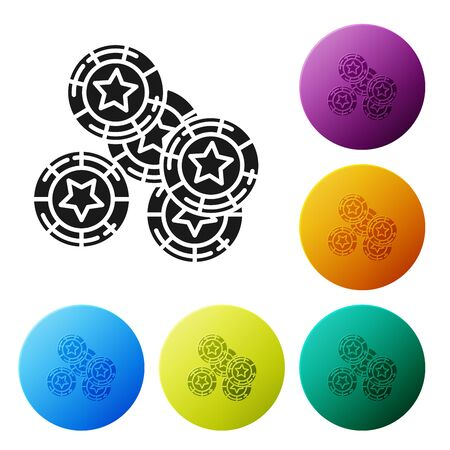 Black Casino chips icon isolated on white background. Casino gambling. Set icons colorful circle buttons. Vector Illustration