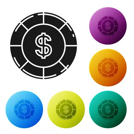 Black Casino chip with dollar symbol icon isolated on white background. Casino gambling. Set icons colorful circle buttons. Vector Illustration