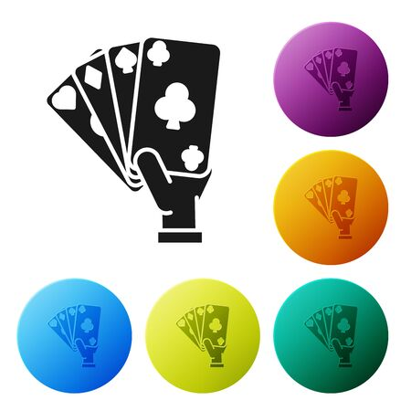 Black Hand holding playing cards icon isolated on white background. Casino game design. Set icons colorful circle buttons. Vector Illustration