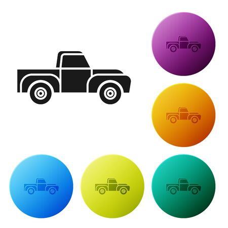 Black Pickup truck icon isolated on white background. Set icons colorful circle buttons. Vector Illustration