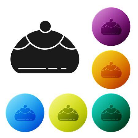 Black Jewish sweet bakery icon isolated on white background. Hanukkah sufganiyot. Jewish easter cake. Set icons colorful circle buttons. Vector Illustration