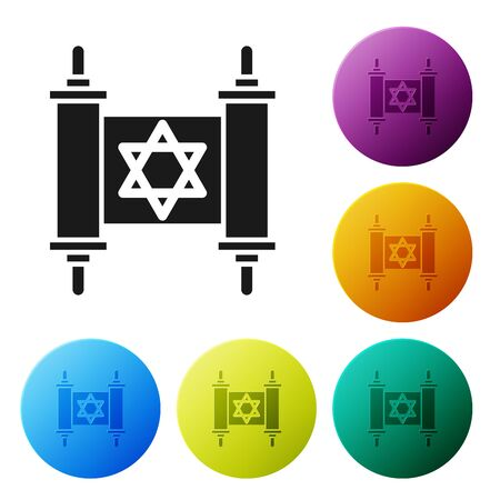 Black Torah scroll icon isolated on white background. Jewish Torah in expanded form. Star of David symbol. Old parchment scroll. Set icons colorful circle buttons. Vector Illustration