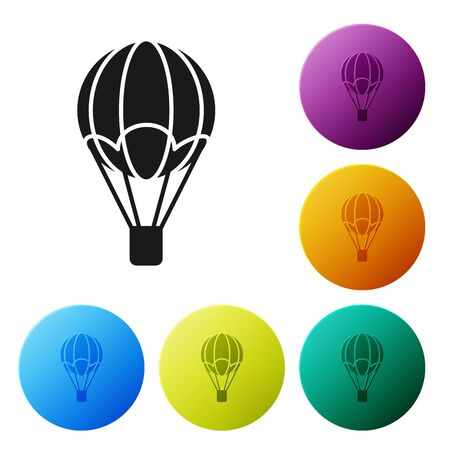 Black Hot air balloon icon isolated on white background. Air transport for travel. Set icons colorful circle buttons. Vector Illustration