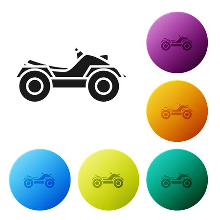 Black All Terrain Vehicle or ATV motorcycle icon isolated on white background. Quad bike. Extreme sport. Set icons colorful circle buttons. Vector Illustration 일러스트